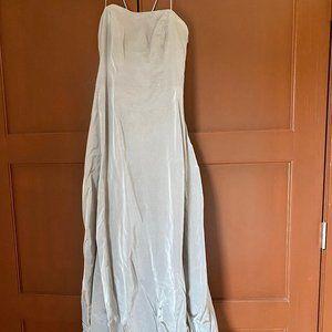 Vera Wang Taffeta Floor length silver gown
